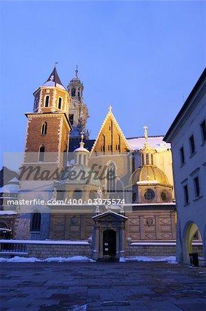 Wawel Cathedral at night