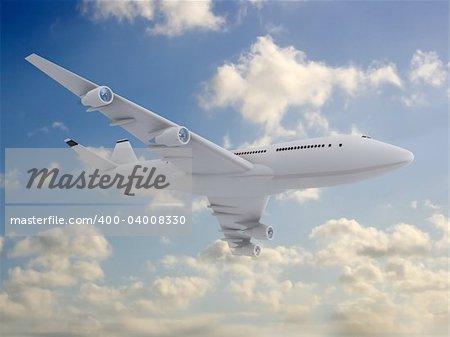 3drendered illustration of a white plane flying in the blue sky