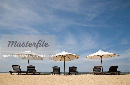 Beach chairs at Sanur beach, Bali