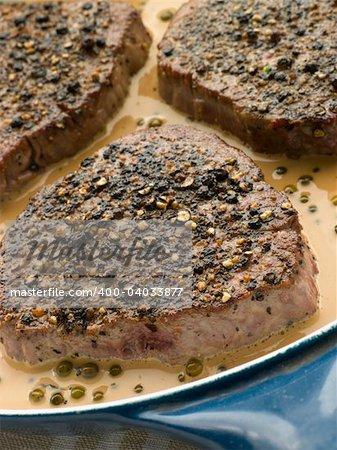 Filet Mignon au Poirve' in a saut pan