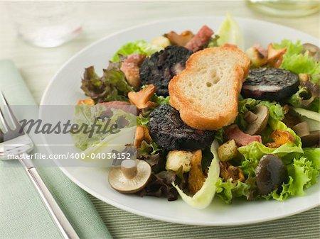 Salad Maison - Boudin Noir Bacon and Mushrooms