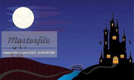 Halloween Night. Easy to edit Vector Image.