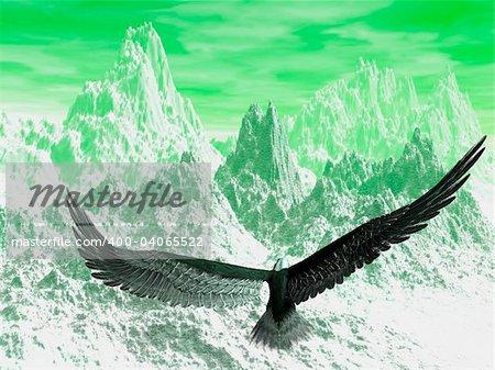 An eagle flight against white snowy mountains