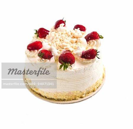 Strawberry meringue cake isolated on white background