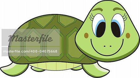vector cartoon of a green turtle