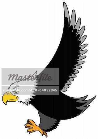 Flying American eagle - vector illustration.