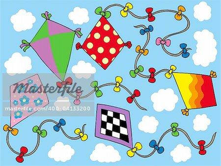 Various kites flying on sky - vector illustration.