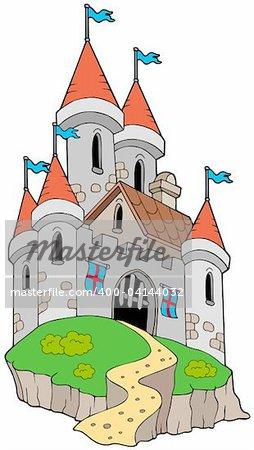 Spectacular medieval castle on hill - vector illustration.