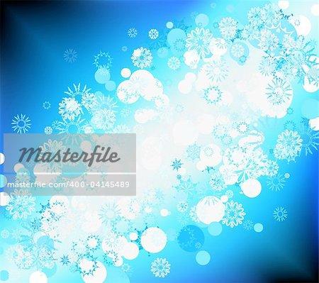 Illustration vectorielle de fond bleu doux flocons de neige différents beaucoup pour la saison d'hiver