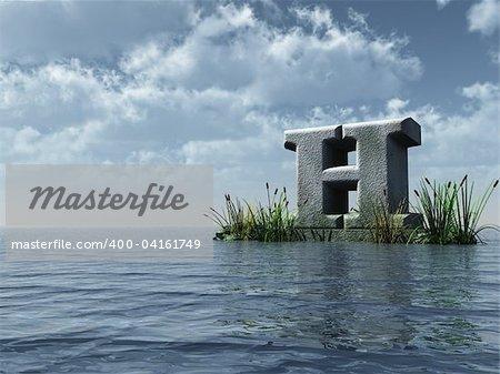 letter h monument in water landscape - 3d illustration