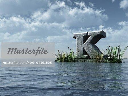 letter k monument in water landscape - 3d illustration