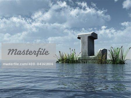 letter l monument in water landscape - 3d illustration