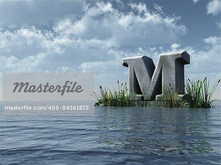 letter m monument in water landscape - 3d illustration