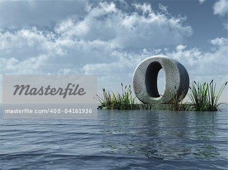 letter o monument in water landscape - 3d illustration