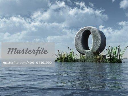 letter q monument in water landscape - 3d illustration