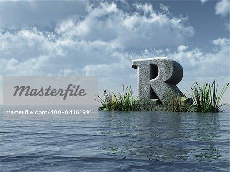 letter r monument in water landscape - 3d illustration