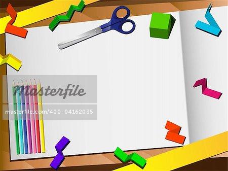 3D Paper Cut Desktop Background. Editable Vector