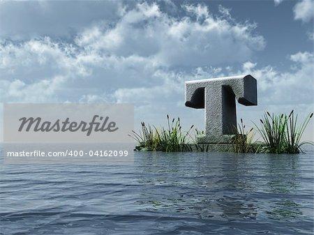 letter t monument in water landscape - 3d illustration