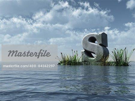 letter s monument in water landscape - 3d illustration