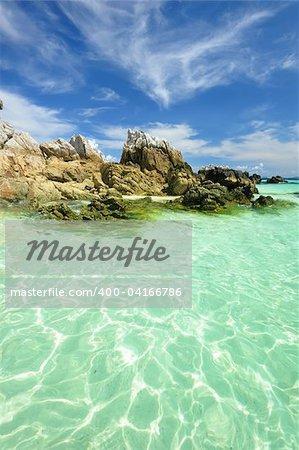 Beautiful rocky beach in thailand