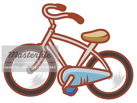 Illustration dessin de bicyclette, isoler en fond blanc
