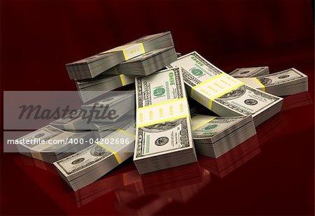 3d illustration of dollars over dark red background