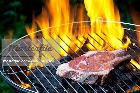 t bone steak on a grill outdoors