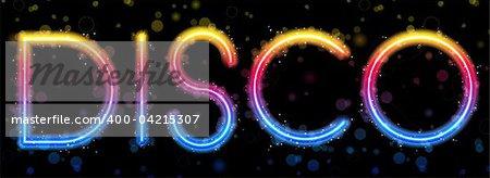 Vector - Disco Abstract Rainbow on Black Background