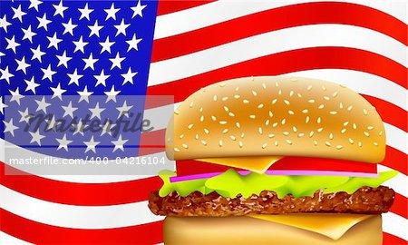 hamburger on a waving American flag