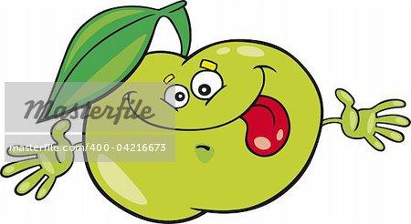 Cartoon illustration of funny apple