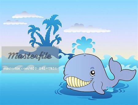 Big cartoon whale in sea - vector illustration.