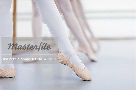 Gros plan des pieds des danseurs de ballet