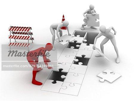 Männer setzen puzzle Stücke zusammen