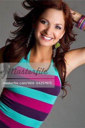 Beautiful redhead woman smiling