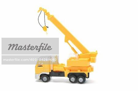 Toy Crane Truck on White Background