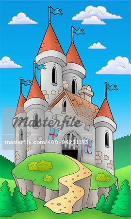 Medieval castle on hill - color illustration.