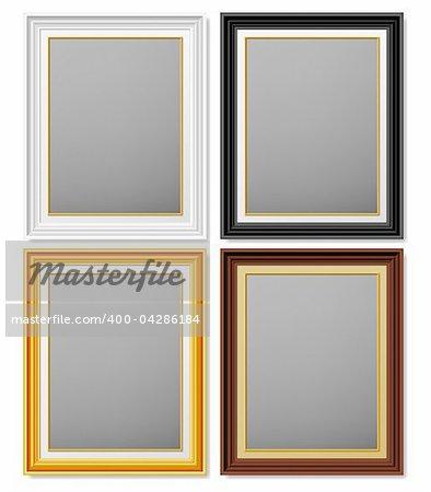 White, black, golden and brown frames for photographs.