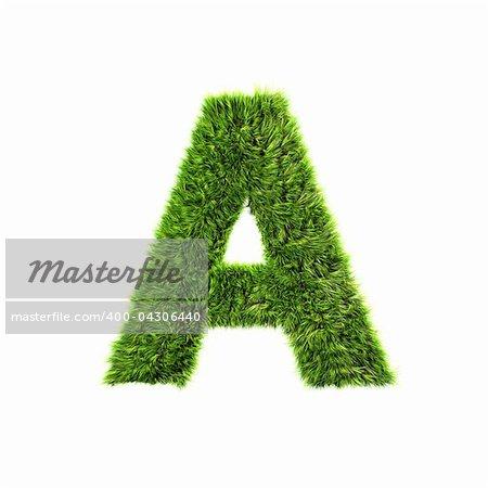 3D lettre herbe isolé sur fond blanc - A