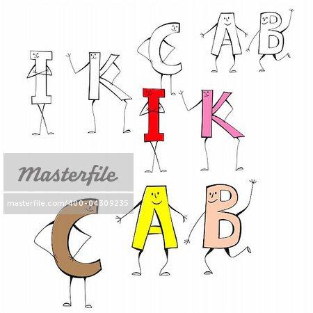 Set of cartoon style letters I, K, C, A, B