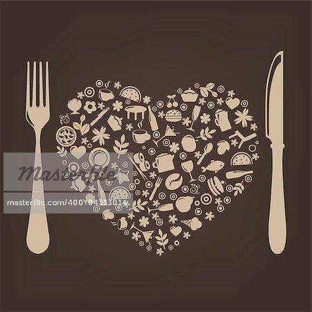 Restaurant Background With Restaurant Icons, Vector Illustration