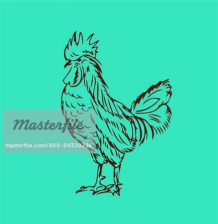 Proud cock retro tattoo style Chicken vector
