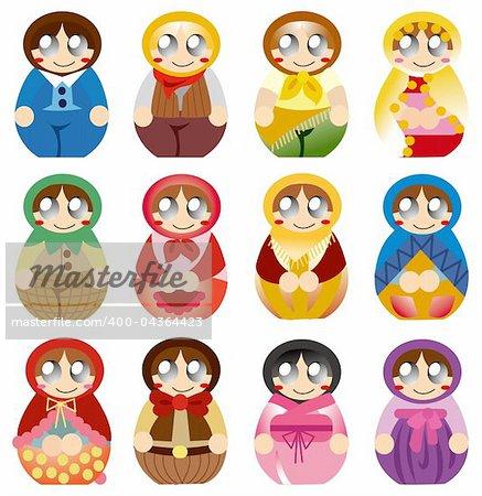 cartoon Russian Doll icon