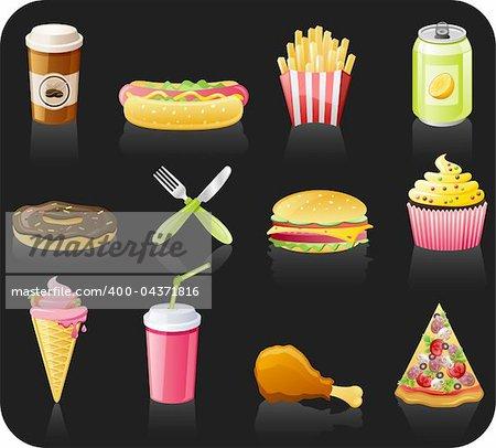 Fast food black background  icon set: coffee, hot dog, french fries, doughnut, fork, burger, fruitcake, ice-cream, drink, chicken, pizza