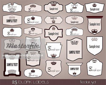 25 blank labels frame. Vector illustration set