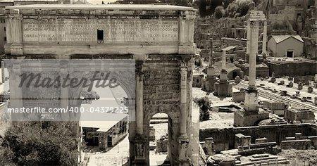 Landscape view of roman forum in Rome, Italy, black / white photo