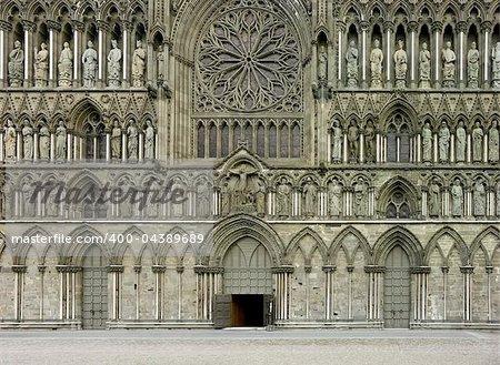 Facade of Nidaros Cathedral in Trondheim, Norway
