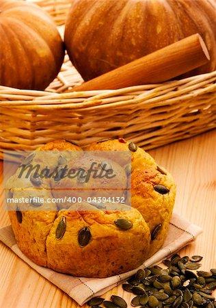 Fresh baked organic pumpkin bread