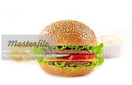 fresh hamburger, potatoes and sauce on white background