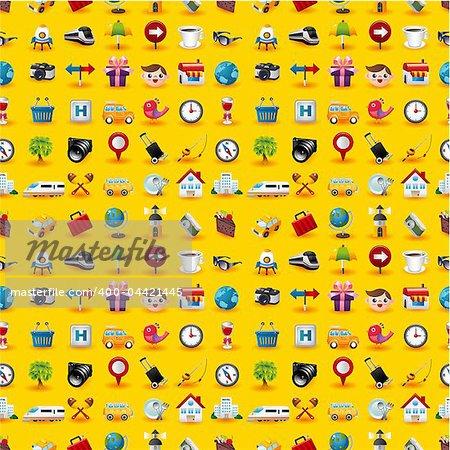 Yellow  Travel Icons Seamless Pattern