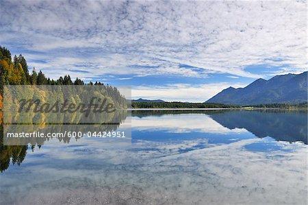 Clouds Reflected in Lake, Lake Barmsee, Kruen, Upper Bavaria, Bavaria, Germany
